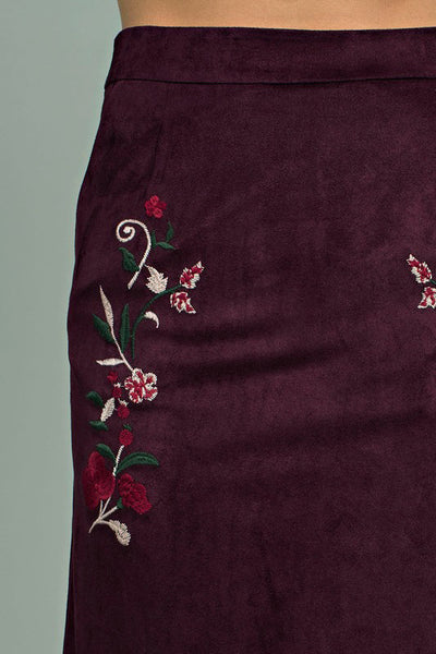 Embroidered Sueded Skirt