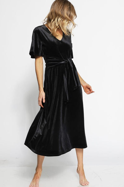 Velvet Holiday Dress- Black