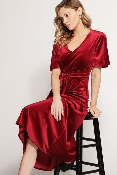 Velvet Holiday Dress- Burgundy