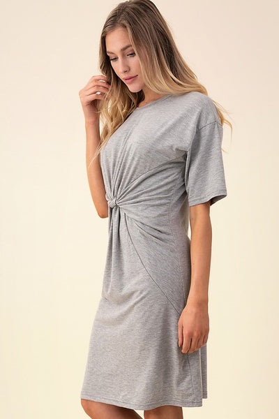 Twist Front Dress- Gray