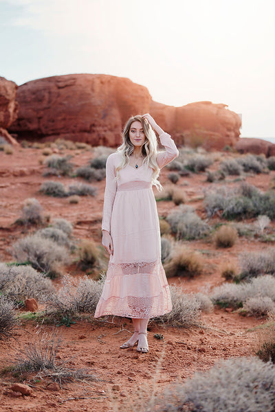 """Make me Blush"" Maxi Dress with Lace Inserts"
