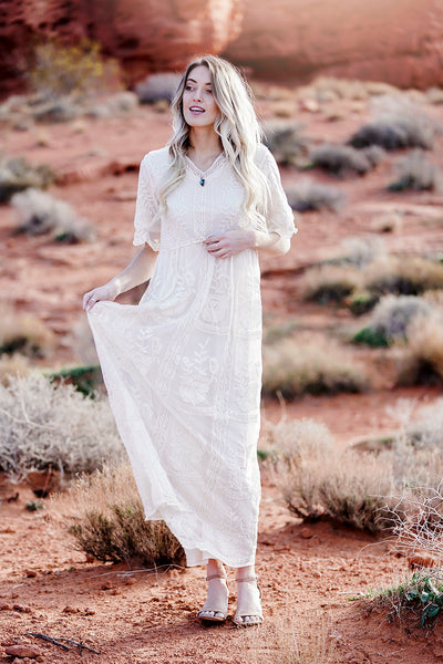 Sweet Caroline Lace Maxi Dress- Cream