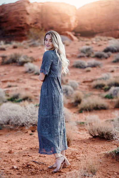 Sweet Caroline Lace Maxi Dress- Gray