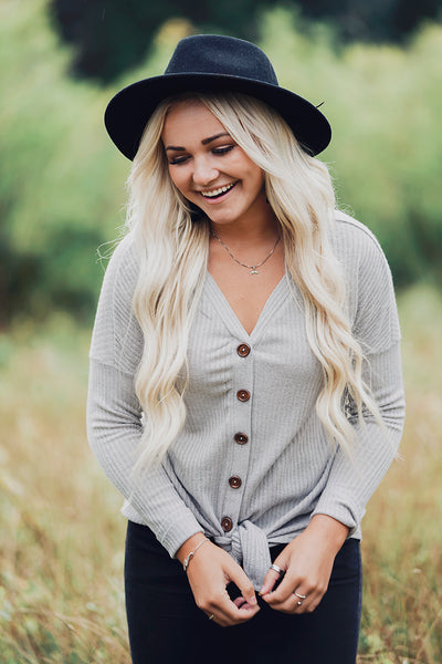 Cute as a Button Top- Gray
