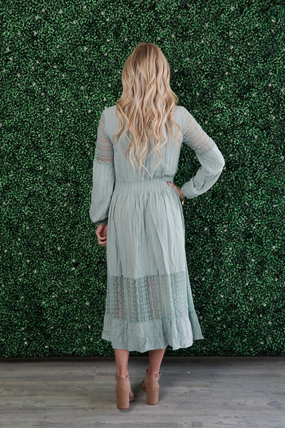 Touch of Lace Maxi Dress- Dusty Blue