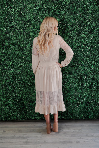 Touch of Lace Maxi Dress- Taupe
