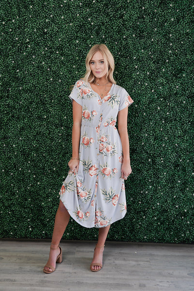Peony Floral Button Down Dress