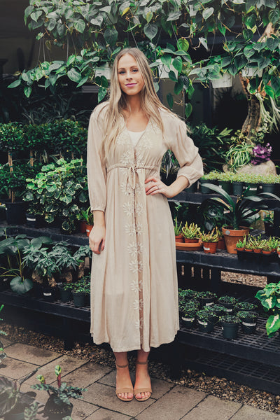 Free Spirit Embroidered Dress- Beige