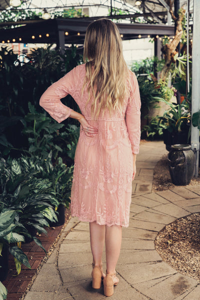 Hannah Embroidered Lace Dress- Pink