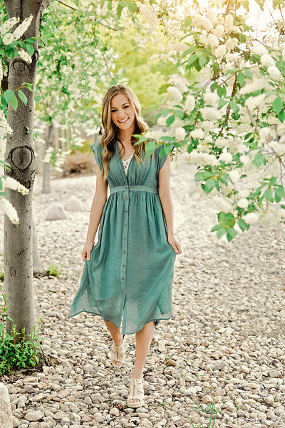 Worth the Wait Button Front Midi Dress- Sage