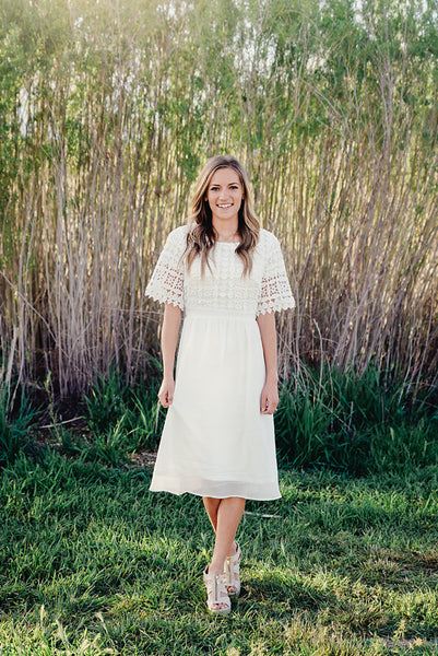 Enchanted White Crochet Midi Dress