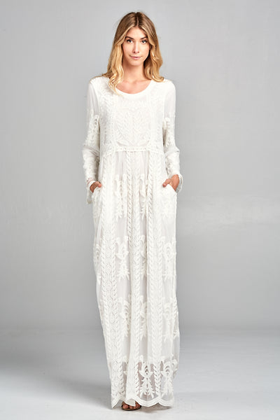 2257a94a90f Angel White Lace Maxi Dress with Pockets – Lizzie   Mae