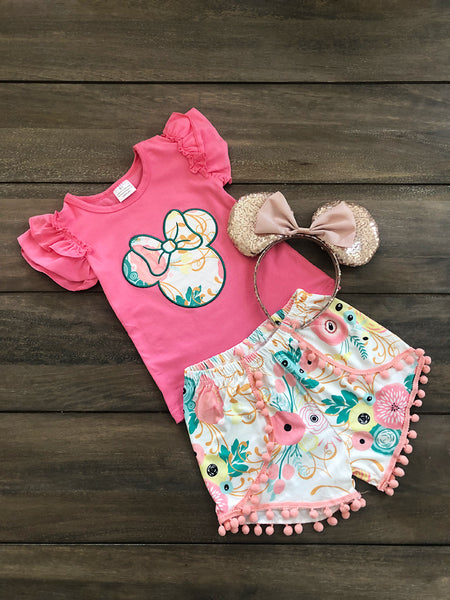 Mouse Embroidered Floral Set- Pink - Children's Sizing