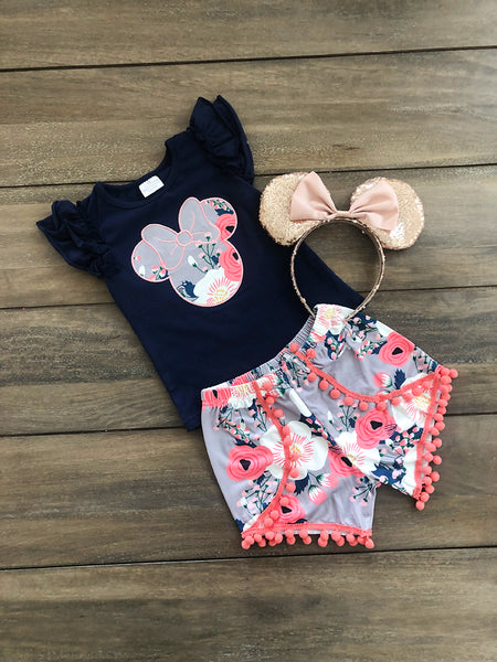 Mouse Embroidered Floral Set- Navy- Children's Sizing