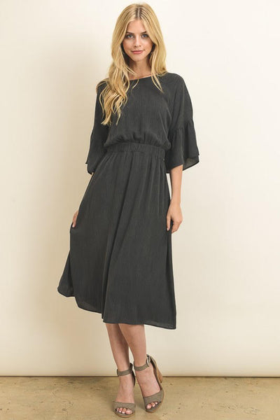 Charcoal Flared Sleeve Dress