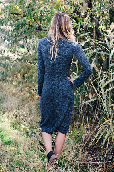Tie Front Sweater Midi Dress- Navy