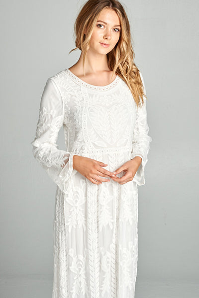 Angel White Lace Maxi Dress with Pockets
