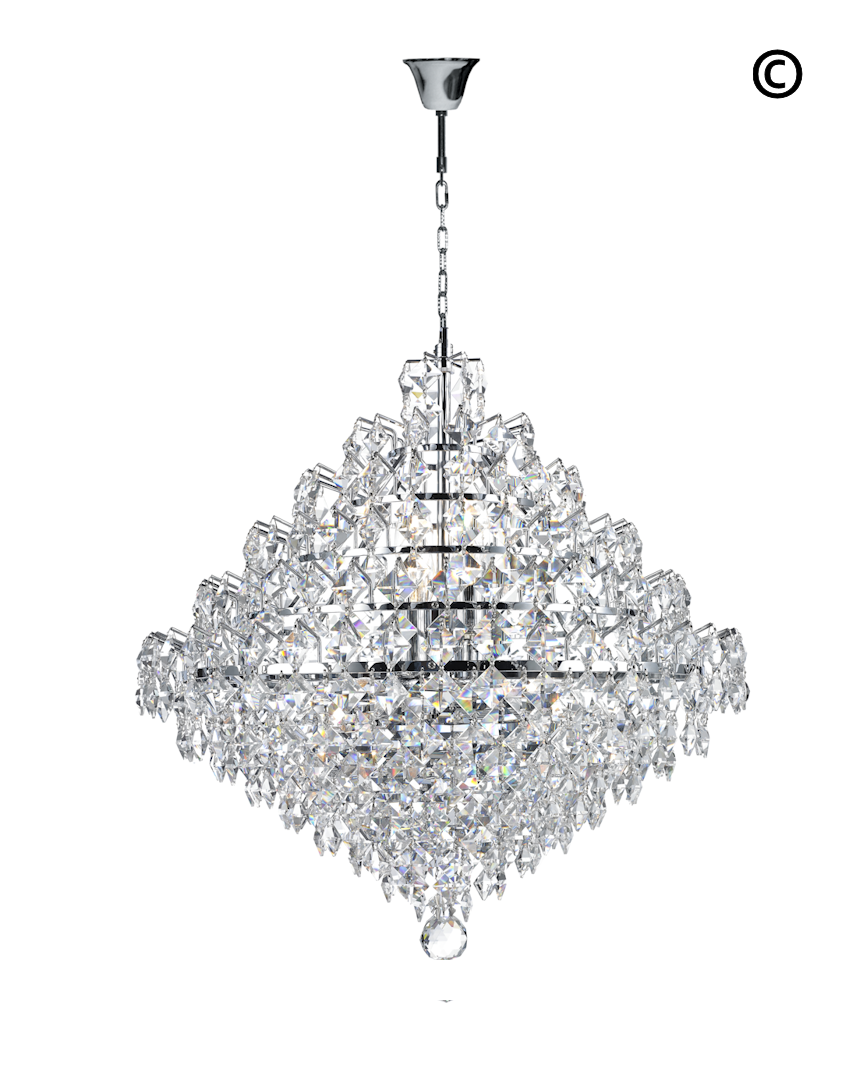 crystal pendant lighting. Diamond Edge - Chandelier Pendant Light 50cm Designer Crystal Lighting