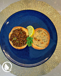 Sfiha with Vegan Mince Sauce and Cashew Cheese
