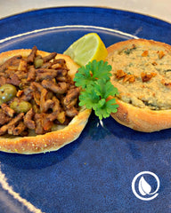 Sfiha with Vegan Mince Sauce and Cashew Cheese - Ju's Recipes - Vegan Pantry Brisbane