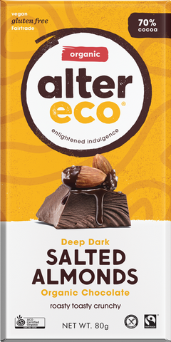 Alter Eco Deep Dark Salted Almonds Organic Chocolate GF 80g - Vegan Pantry Brisbane