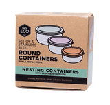 Ever Eco - Round Nesting Stainless Steel Containers Pastel Collection 3 Piece Set - Vegan Pantry Brisbane