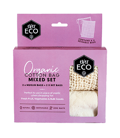 Ever Eco - Organic Cotton Mixed Set Produce Bags 4 Pack - Vegan Pantry Brisbane