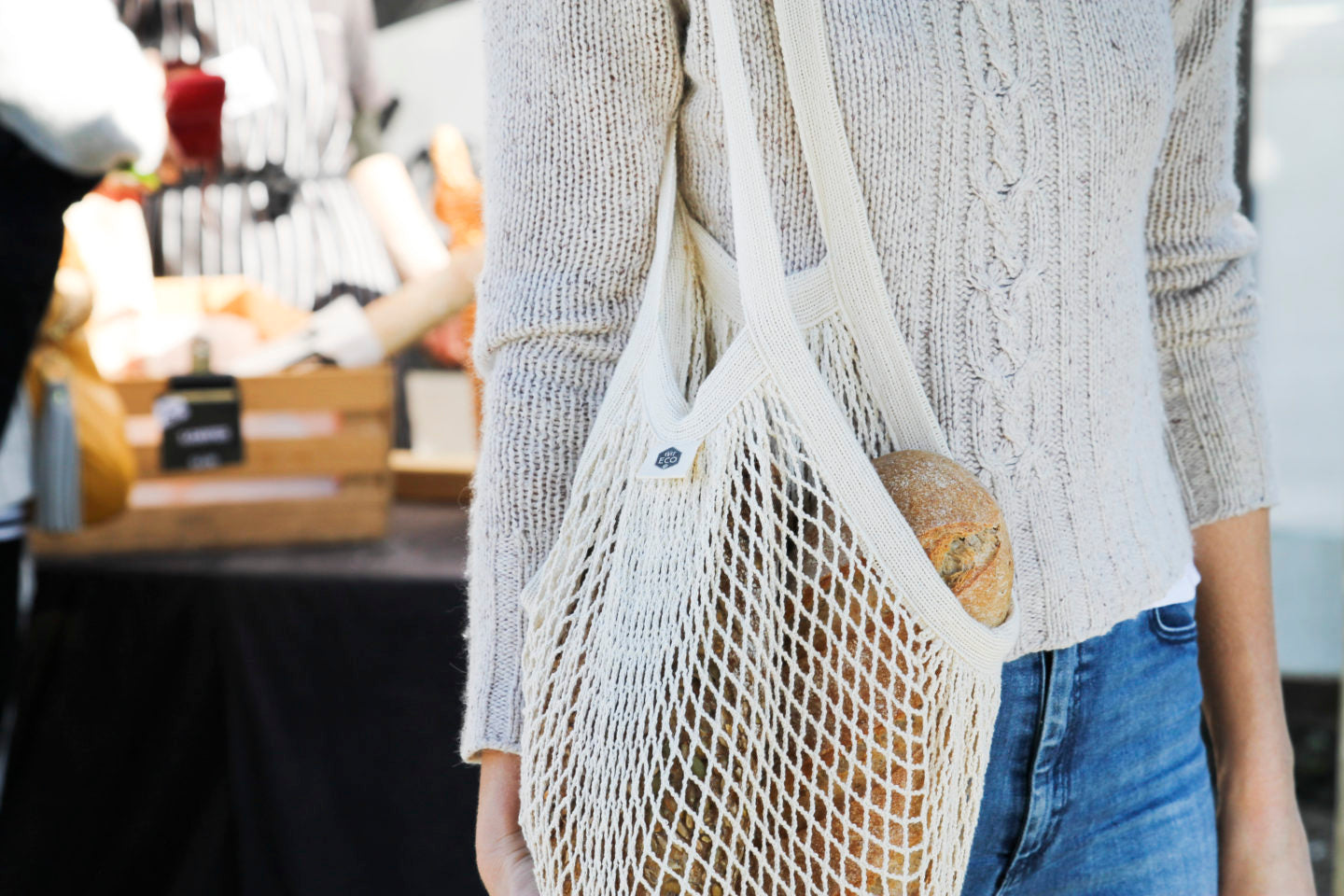 Ever Eco - Organic Cotton Net Tote Bag Long Handle - Vegan Pantry Brisbane