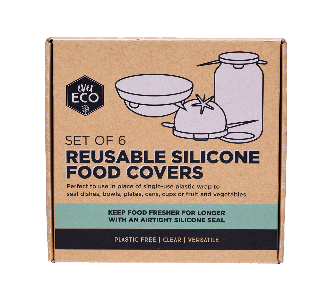 Ever Eco - Reusable Silicone Food Covers Set of 6 - Vegan Pantry Brisbane