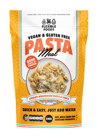 Flexible Foods Gluten Free Pasta Meal Creamy Mushroom Pasta & Sauce 240g - Vegan Pantry Brisbane