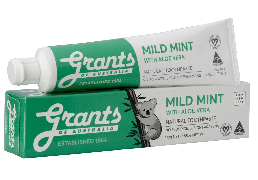 Grants Mild Mint with Aloe Vera Toothpaste 110g - Vegan Pantry Brisbane