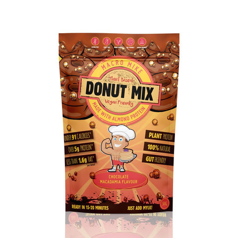 Macro Mike Almond Protein Donut Baking Mix Chocolate Macadamia Flavour GF 300g - Vegan Pantry Brisbane