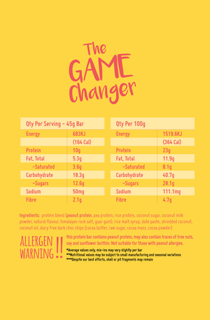 Macro Mike The Game Changer Protein Bar GF 45g - Vegan Pantry Brisbane