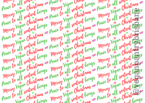 VPB Peace to All Sentient Beings - Christmas wrapping paper 115g - Vegan Pantry Brisbane