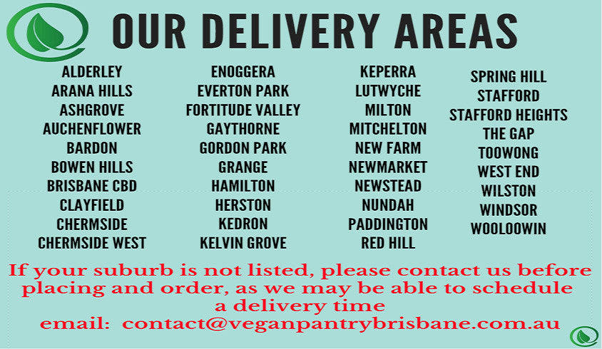 Our delivery areas - Vegan Pantry Brisbane