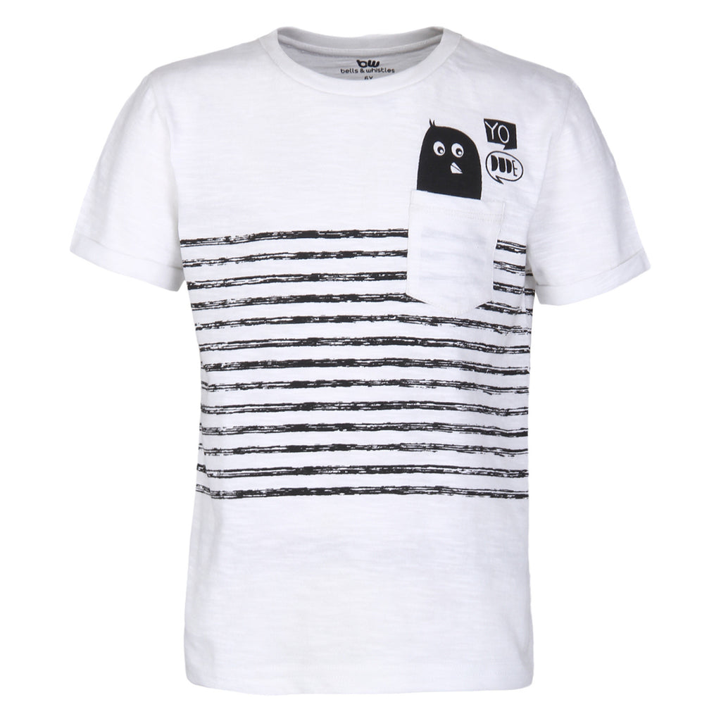 Printed Round Neck  White t-shirt for boys