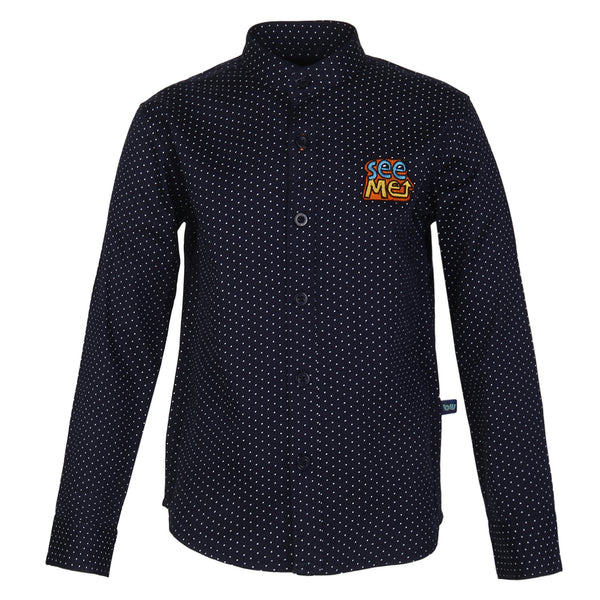 Polka Dotted Chinese Collar Navy Shirt for boys