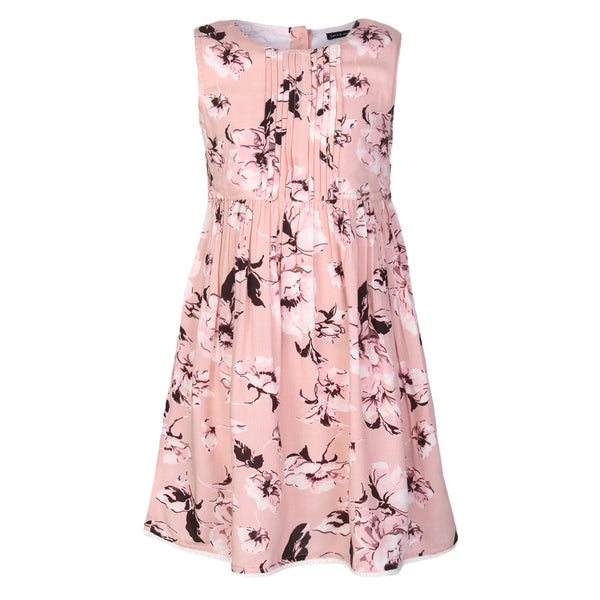 floral Printed Peach Dress With Pintucks