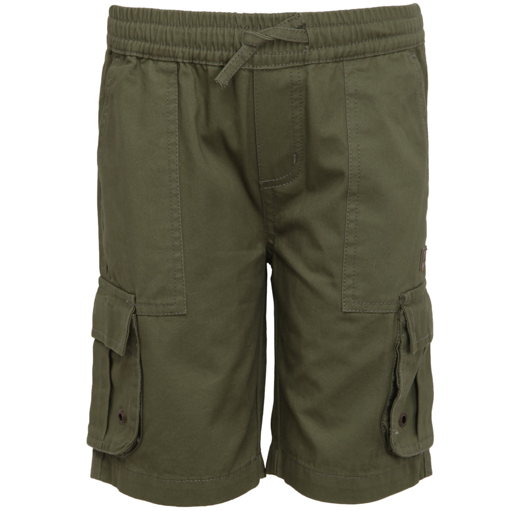 Olive Twill Shorts with Cargo Pockets