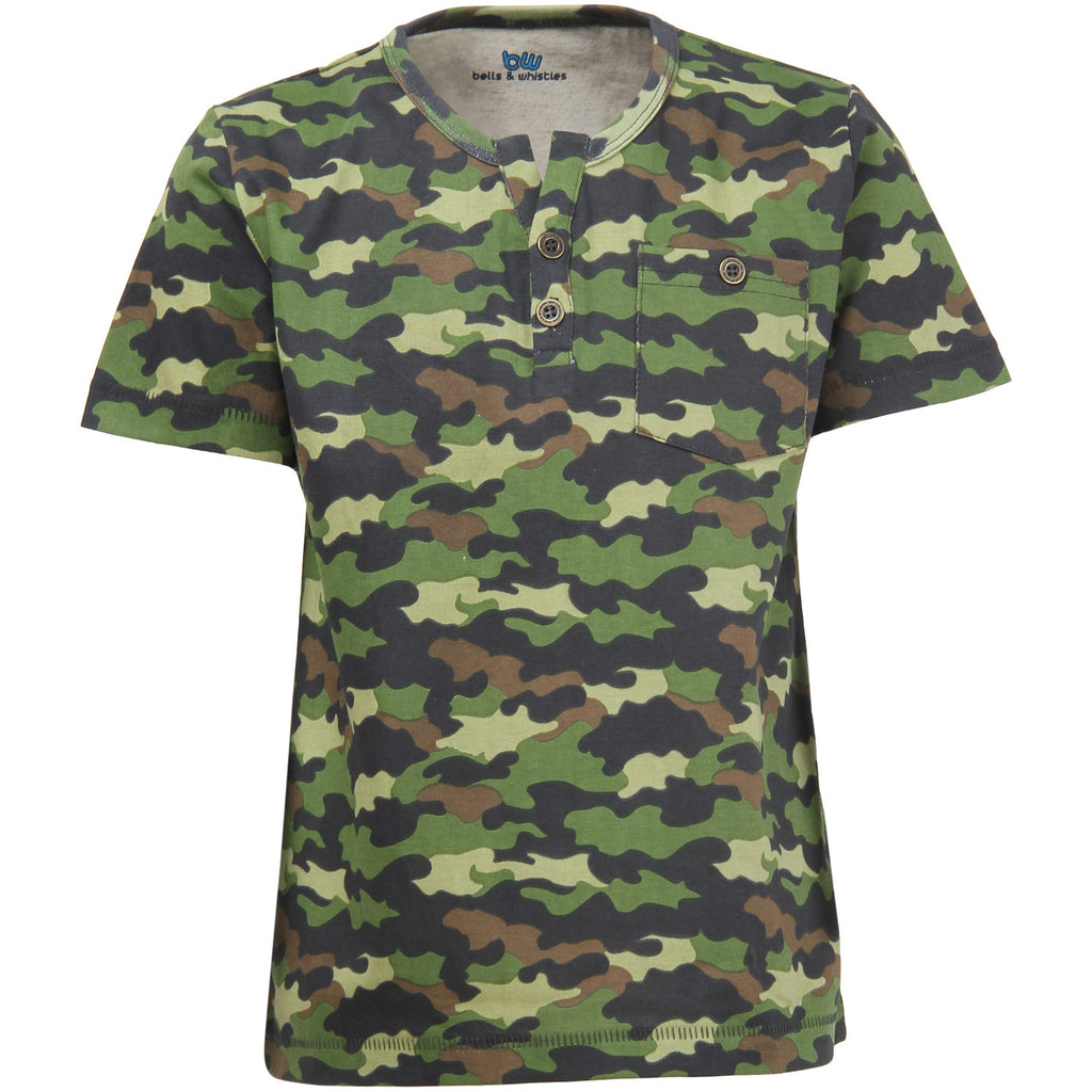 Bells and Whistles with Camo Print Henley Tee