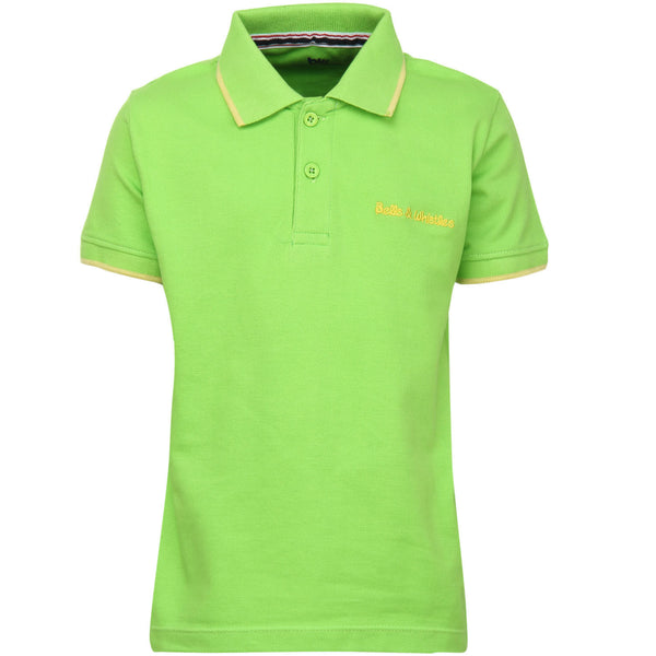 Bells and Whistles Green Solid Pique Polo