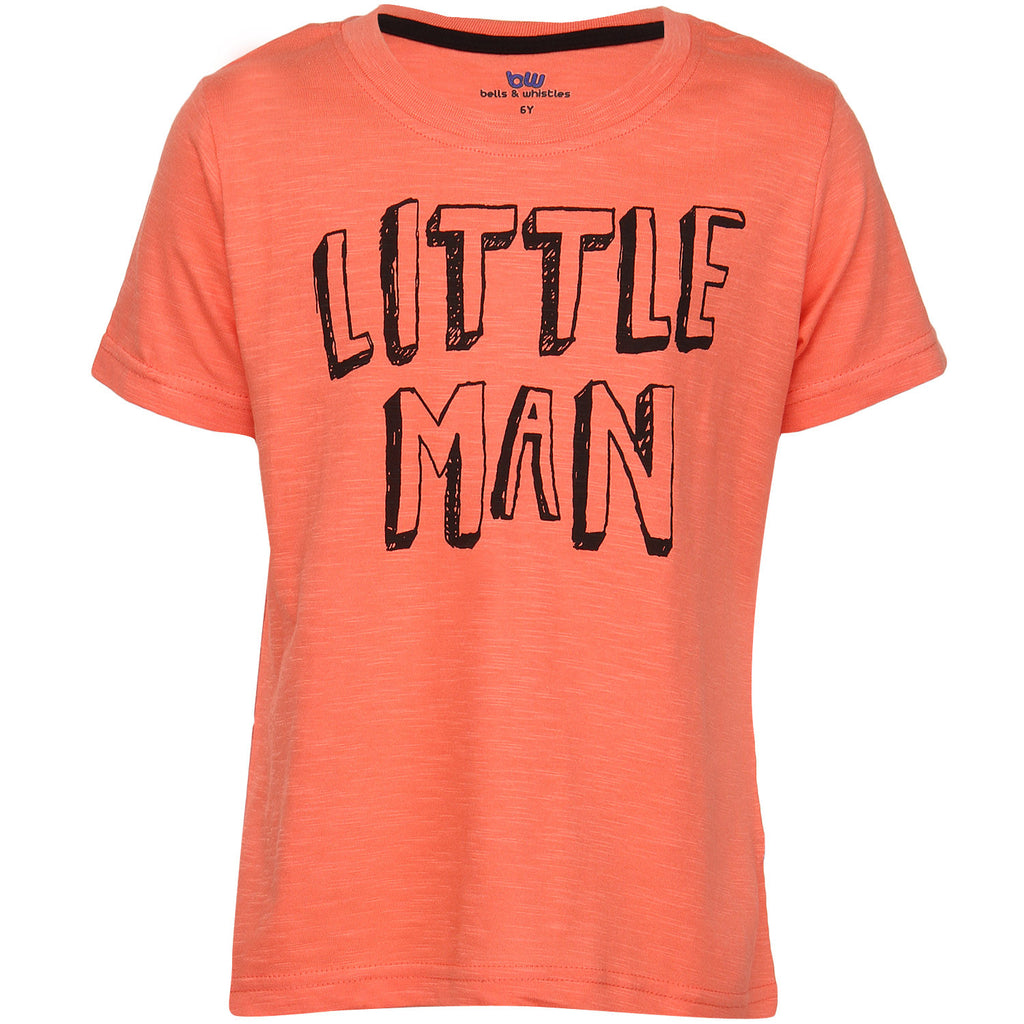Bells and Whistles Printed Tee in Fresh Salmon Color with Chest Print
