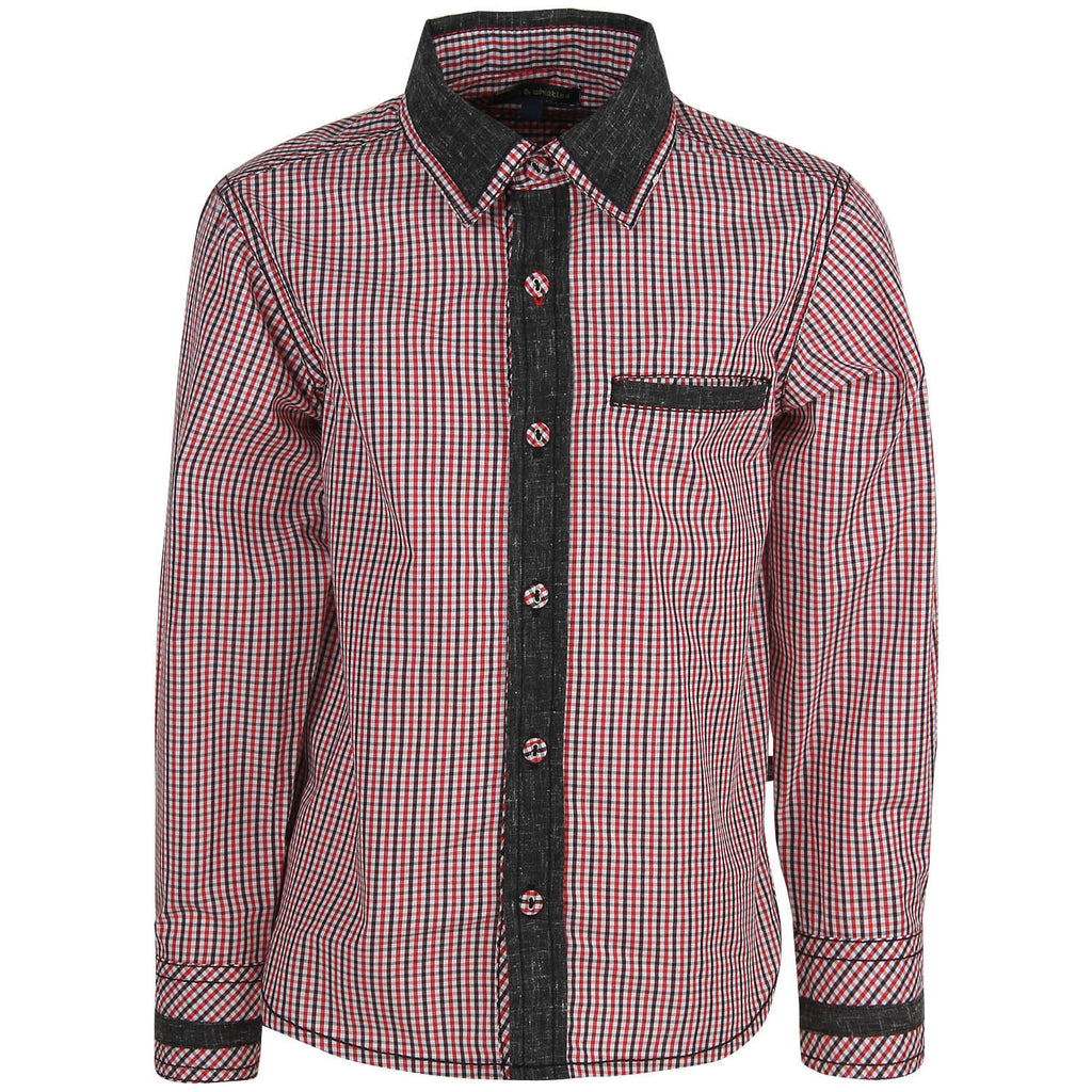 Bells and Whistles Red and Blue Check Shirt with mill-made fabric and Peach Finish