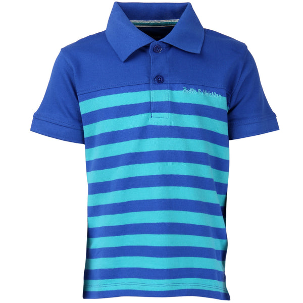 Bells and Whistles Blue Striped Pique Polo