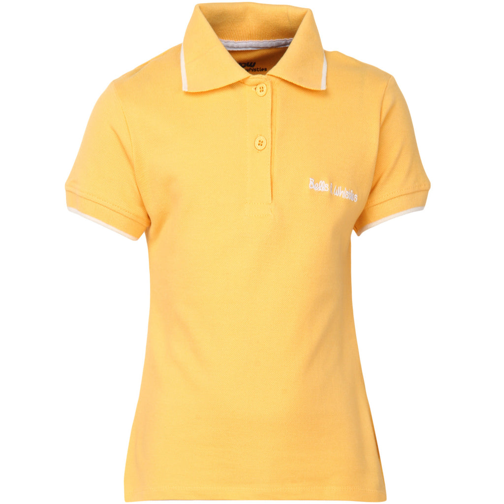 Bells and Whistles Yellow Solid Pique Polo for Girls