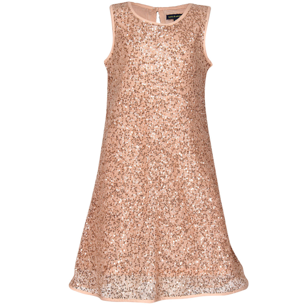 Bells and Whistles Sparkling Party Dress in Peach