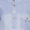 Bells and Whistles Band Collar Blue Pinstripe Shirt