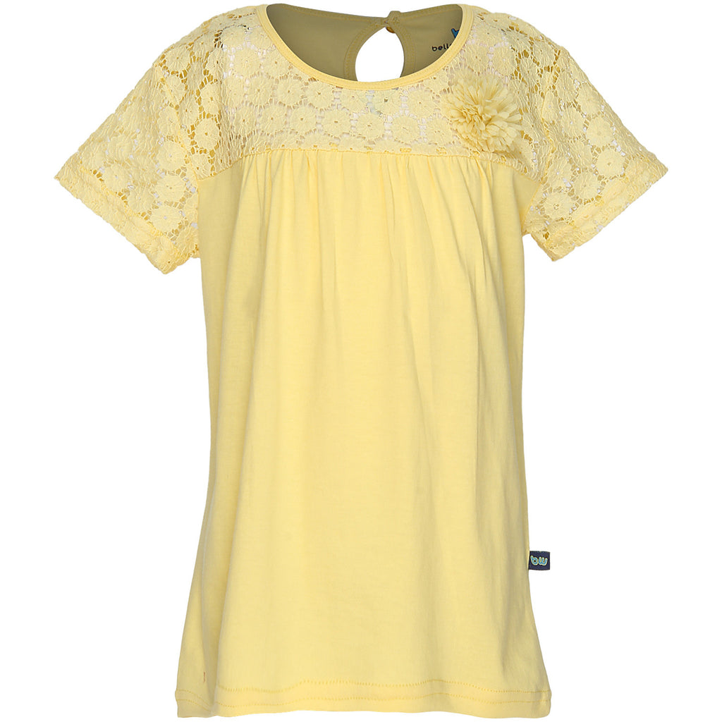 Bells and Whistles Pretty Yellow Tee with Lace work