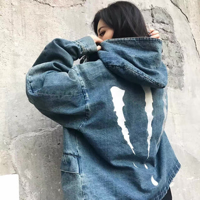 SuaMoment 2017 Claw Denim Zip-Up Hoodie
