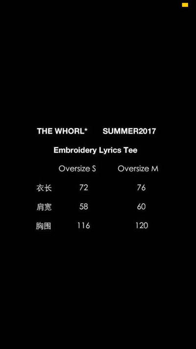 THE WHORL* Embroidery Lyrics Tee Women